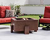 Bentintoshape 38 Inch Square Cor-Ten Steel Fire Pit - Wood Burning Configuration - Natural Gas Source