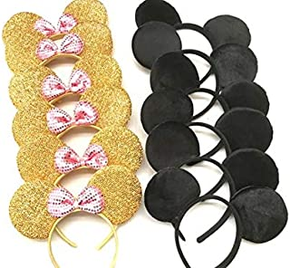 CLGIFT Set of 12 Minnie Mouse Ears, Disney Ears, Mickey Mouse Ears, Disney Theme Party, Boys and Girls One Size Fits All (6 Gold w/Light Pink & 6 Plain Black)