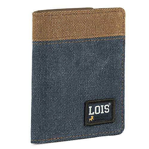 Lois - Cartera de Hombre con Monedero Billetera Juvenil de Lona. Muchos Compartimentos. Protección RFID. 203718, Color Azul