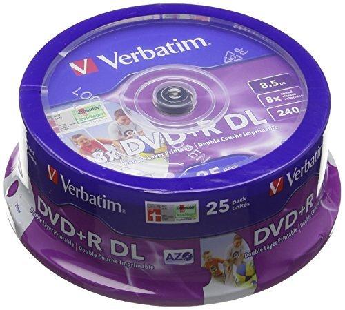 Verbatim 43667 8.5GB 8x DVD+R Double Layer Inkjet Printable 25 Pack Spindle by Verbatim