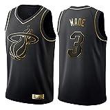 Shelfin - Camiseta de baloncesto de la NBA de Miami Heat del número 3 Wade, transpirable, grabada,...