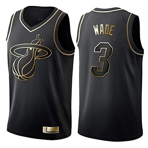 ZSPSHOP Maillot para hombre y mujer Miami Heat No.3 Wade Maillot transpirable bordado baloncesto Swingman Top (color: negro D, tamaño: XXL)