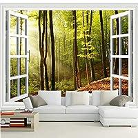 3D壁紙ポスター窓の外の森カスタム大規模な壁紙の壁紙3Dテレビの背景リビングルームの写真の壁紙3Dルームの壁紙-400X280cm(157 x 110インチ)