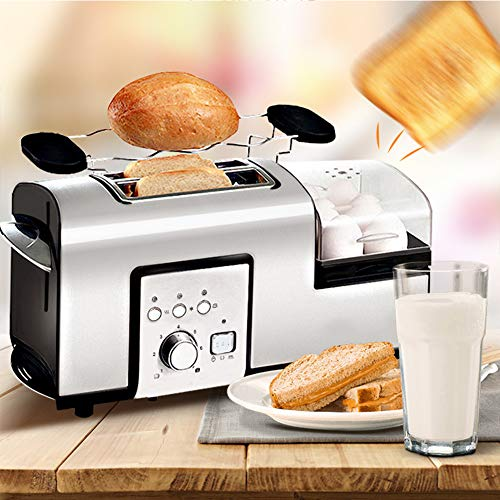 Multifunction Toaster, Stainless Steel Toaster with Egg Steamer, Removable Crumb Tray, Toaster with 7 Shade Settings, Extra Wide Slots