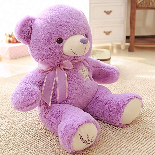 YunNasi Oso de Peluche Gigante Osito de Peluche Teddy Bear Osito Suave Púrpura con Bordados de Lavanda Ideal para Niños Novia Día de San Valentín Regalo de Cumpleaños (45cm)