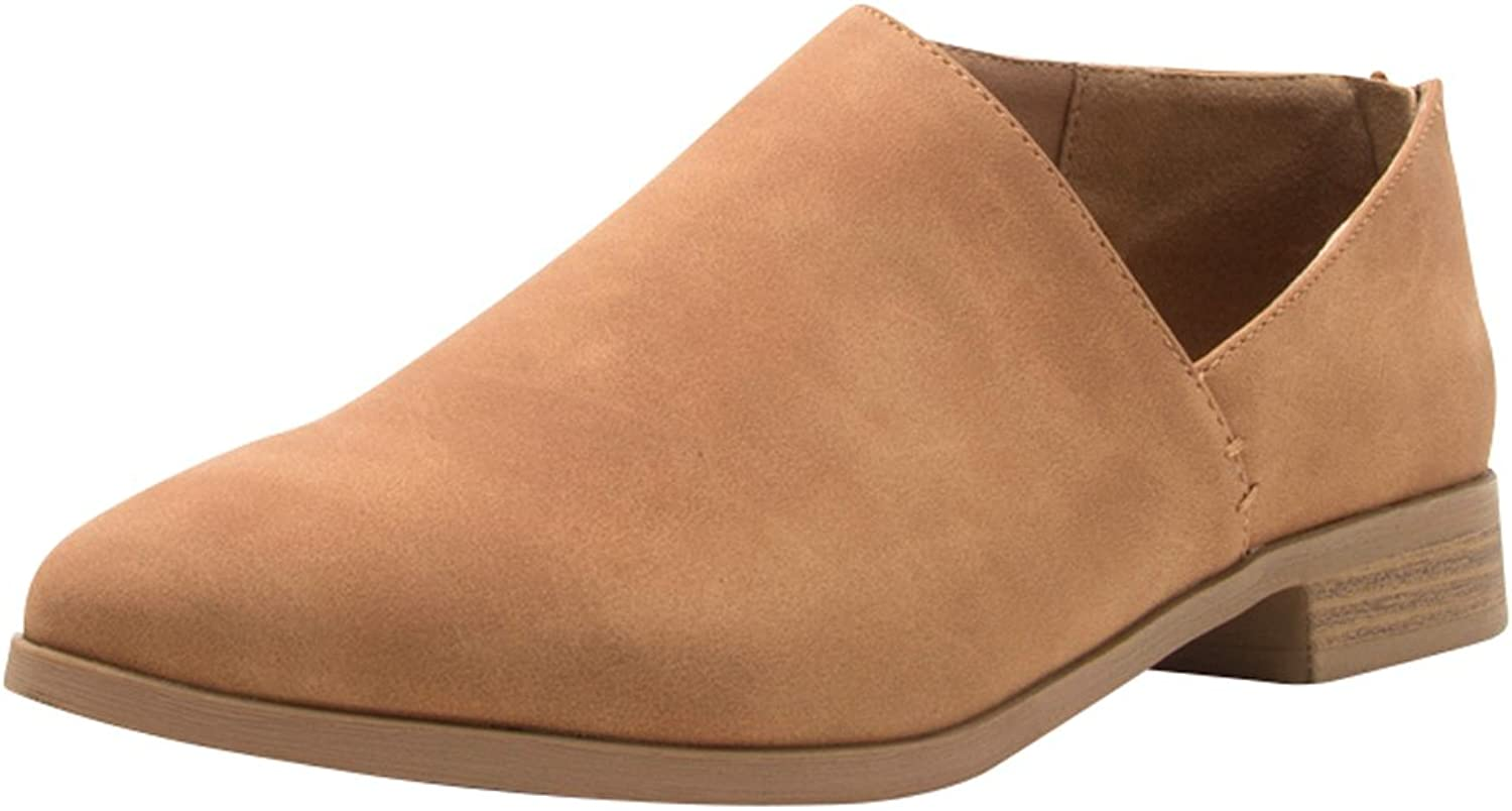 Cambridge Select Women's Closed Almond Toe Side Cutout Chunky Block Low Heel Shootie Ankle Bootie