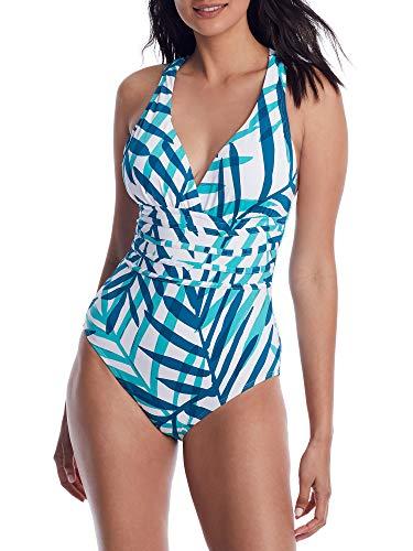 La Blanca Women's Plus Size Multi Strap Cross Back One Piece Swimsuit, Caribbean Current//Vista Mirage, 16W