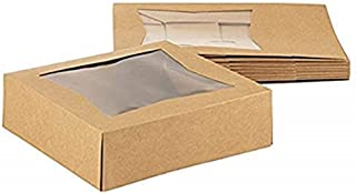 Mini Cake Kraft 25-Pack Bakery Pastry Box with Clear Display Window Donut