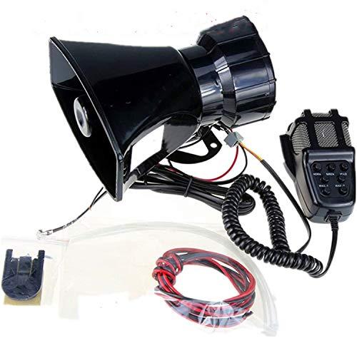 Yida - Sirena de 12V 80W con 7tonos para vehículos, con micrófono y sistema de altavoces y amplificador de sonido de emergencia