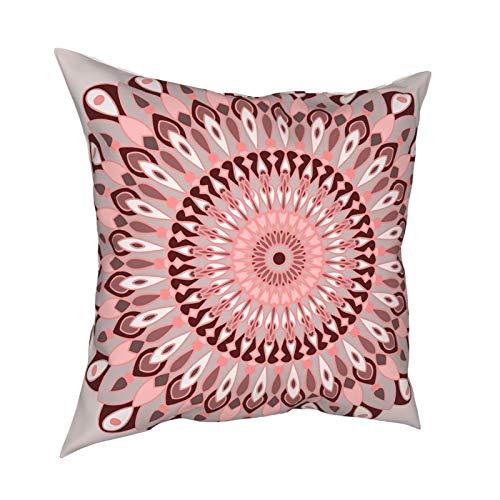 Uliykon Fundas de cojín decorativas de mandala rosa y gris, fundas de almohada cuadradas suaves para sofá, dormitorio, coche, con cremallera invisible, 45,7 x 45,7 cm