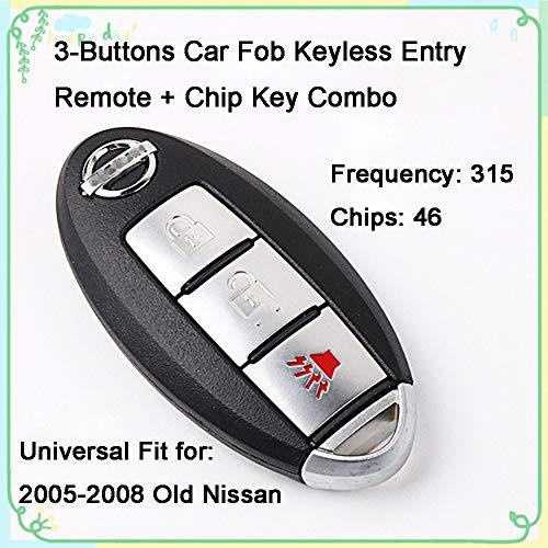 1 Set 3-Buttons 315Hz Car Key Fob Keyless Entry Smart Card Alarm Transmitter Programmer Remote Control & Uncut 46 Chips Key Replacement for 2005-2008 Nissan Tiida Bluebird Sylphy FCCID CWTWBU729