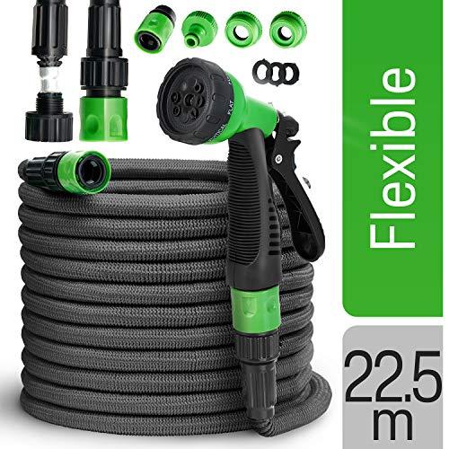 tillvex Flexibler Gartenschlauch 22.5m schwarz - Testurteil SEHR GUT - Black Edition flexiSchlauch, verbesserte Version 2019, verstärktem Gewebe - inkl. Zubehör - Dehnbarer Wasserschlauch