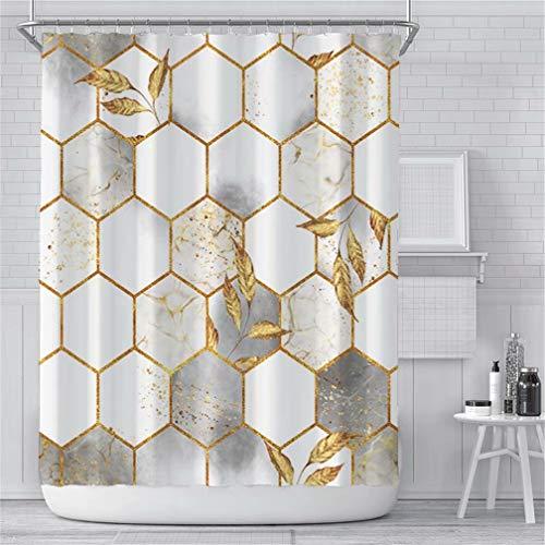 Marble Shower Curtain for Bathroom, White Grey Geometric Gold Plaid Leaf Fabric Shower Curtain, Modern Luxury Texture Bathroom Curtain Waterproof Washable, 72x72 Inches
