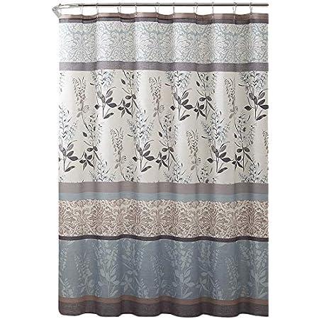 Serafina Home Light Blue Beige Grey Fabric Shower Curtain for Bathroom: Contemporary Floral Bordered Damask Design