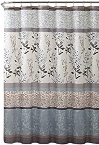Serafina Home Light Blue Beige Grey Fabric Shower Curtain for Bathroom: Contemporary Floral Bordered Damask Design