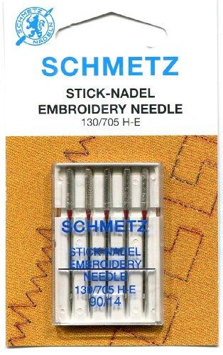 Schmetz Stick-Nadel für Nähmaschinen, rote Spitze, flache Rückseite, Rot, 90 (14)