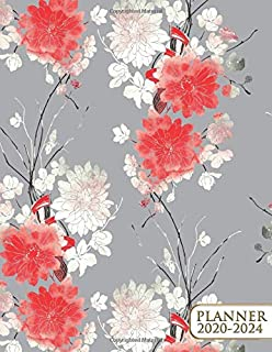 2020-2024 Planner: Lovely Japanese Five Year Monthly Agenda & 5 Year Organizer | 60 Months Spread View with To-Do's, Inspirational Quotes, Vision Boards & Notes | Dashing Cherry Blossom & Sakura
