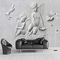 ZCLCHQ 壁紙壁の壁紙ステッカー壁画 像と天使 不織布ベッドルームリビングルームテレビ背景壁接触ペーパ SIZE:280x200cm