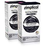 Simplicol Textil Color Intensivo (18Colores), Terciopelo Negro 18182Unidades: Fácil Textil färben en la Lavadora, Paquete Completo con Tinte líquido y fijación Polvo