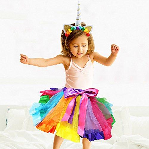 vamei Rainbow Tutu Skirt for Girls Toddler Unicorn Costume with Unicorn Headband for Little Pony Dress Up Unicorn Gifts for Girls