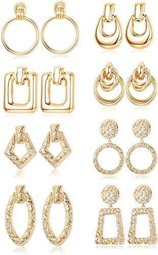 Finrezio 8 Pares de Pendientes Colgantes Geométricos para Mujer, Pendientes Colgantes Redondos Cuadrados Grandes de Metal