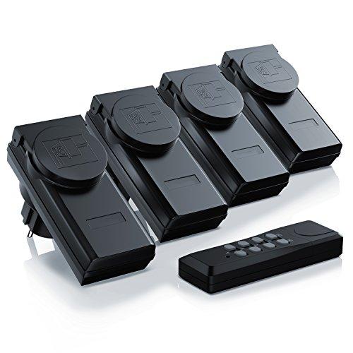 Arendo - Outdoor Funksteckdosen-Set 4 1 für den Außenbereich Outdoor - 4x Funkschalter-Steckdosenset - 1x Fernbedienung - integrierter Berührungsschutz - hohe Funkreichweite von ca. 25m - IP44-Norm für Außenbereich - schwarz