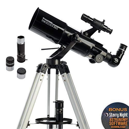 Celestron PowerSeeker AZ - Telescopio astronómico (80 mm de Apertura, 400 mm de Distancia Focal, f/5 de relación Focal) Color Negro y Blanco