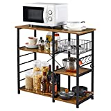 Yaheetech Baker's Rack Industrial Kitchen Shelf Metal Frame Microwave Oven Stand Shelf with Wire Basket and 6 Hooks, for Spices and Utensils 90X39X84cm, Rustic Brown