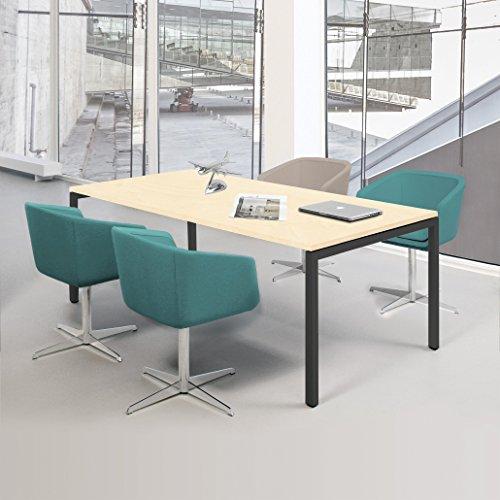 Weber Büroleben GmbH NOVA Besprechungstisch 160x80cm Ahorn 4-6 Pers. Konferenztisch Meetingtisch, Gestellfarbe:Anthrazit