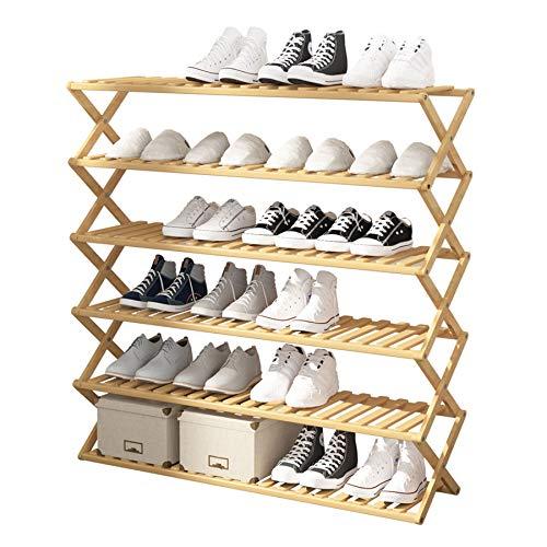 UDEAR Zapatero de bambú, 6 Niveles Entrada Organizador Plegable De pie Estante de Zapatos Almacenamiento multifunción, Sala, Balcón, Color de Madera