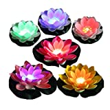 LACGO LED Waterproof Floating Lotus Light, Battery Operated Color-Changing Lily Flower Light, Flower Night Lamp, Pool Garden Fish Tank Wedding Decor(Pack of 6)+(2 Big Size Leaves 11'')
