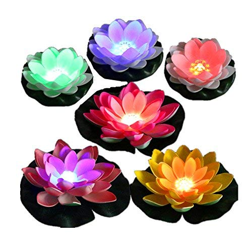 LACGO LED Waterproof Floating Lotus Light, Battery Operated Color-Changing Lily Flower Light, Flower Night Lamp, Pool Garden Fish Tank Wedding Decor(Pack of 6)+(2 Big Size Leaves 11)