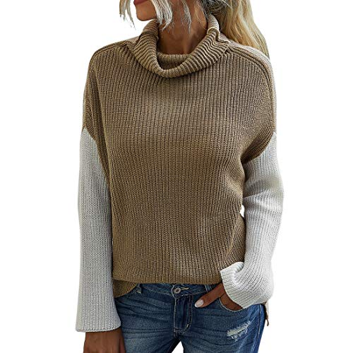 Sweaters Women Sweaters Women Elegant High Collar Long Sleeve Simplicity Knitting Women Sweaters Autumn Winter New Temperament All-Match Comfort Women Sweaters A-Apricot S