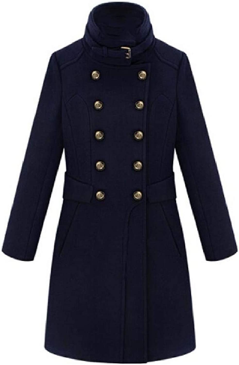 Coolhere Womens Double Breasted British Style Classics Fleece Worsted Coat