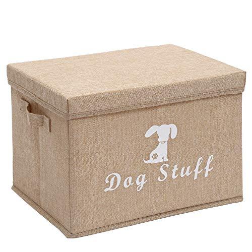 Morezi Aufbewahrungsbox für Hundespielzeug, groß, 38 x 26 x 24 cm, Canvas, Aufbewahrungskorb mit Deckel – perfekter faltbarer Mülleimer für die Organisation von Hundespielzeug und Zubehör
