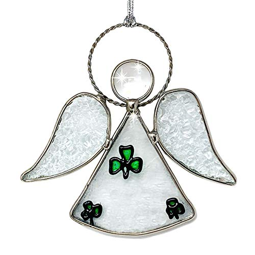 BANBERRY DESIGNS Irish Angel Suncatcher - Glass Hanging Angel with Green Shamrocks and Tempered Glass Inserts - Silver String Attached