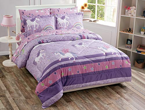 Better Home Style Purple Pink Unicorn Printed Fun Design 7 Piece Comforter Bedding Set with Rainbow and Stars for Girls/Kids/Teens Bed in a Bag with Sheet Set # Unicorn Castle Lavender (Queen)