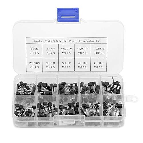 Transistor-Kit 10 Wert 200pcs NPN PNP Power Transistor Sortiment Kit, Transistoren Box Pack für BC337, BC327, 2N2222, 2N907, 2N3904, 2N3906, S8050, S8550, A1015, C1815 von Kulandnder