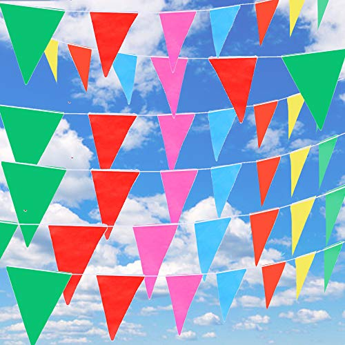 Littleduckling 262ft Bunting Banner Multi Coloured Triangle Flags Pennant 80M Double Sided Festival Wedding Party Christmas Garden Outdoor Decoration