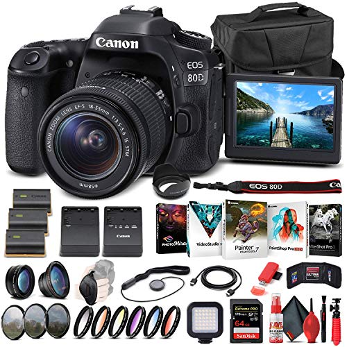 Canon EOS 80D DSLR Camera with 18-55mm Lens (1263C005) + 64GB Memory Card + Case + Corel Photo Software + 2 x LPE6 Battery + External Charger + Card Reader + LED Light + Filter Kit + More (Renewed)