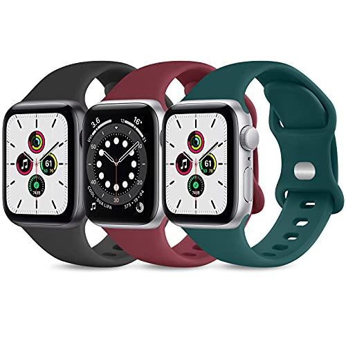 Wanme Cinturnio Compatibile con Apple Watch 38mm 40mm 42mm 44mm Cinturino, 3 Pezzi Morbido Silicone Cinturini per Apple Watch iWatch SE Series 6 5 4 3 2 1 (42/44MM)