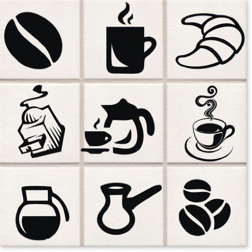 Kaffee Set Aufkleber Wandtattoo, 9-teilig, ca. 10 cm Durchmesser Fliesentattoo für