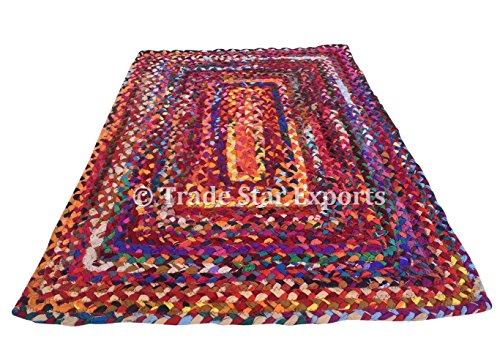 Trade Star Tapis tressé, 2 x 3 Pieds, Tapis Multicolore, Tapis en Coton, Tapis tressé à la Main pour Le Salon