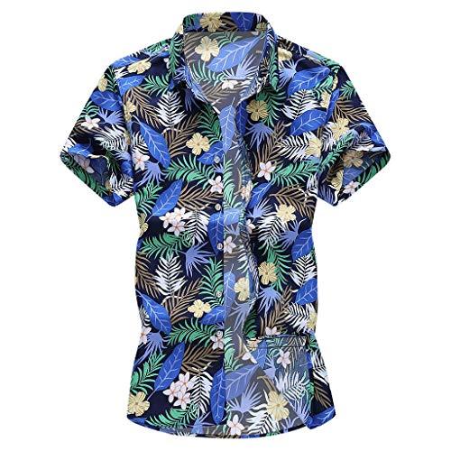 Yowablo Chemise T-Shirt Tops Mode Hommes Slim Lâche Hawaï Manches Courtes Imprimé Col Rabattu (6XL,10 Multicolore)
