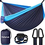 Double Camping Hammock with 2 Tree Straps, Portable Lightweight Hammocks with Ultralight Nylon Parachute Two Person Hammock for Backpacking, Hiking Gear, Outdoor, Travel, Camping, Beach - Navy Blue