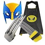 MXGP Juego de Garras de Wolverine para niños Máscara de Wolverine Luminosa Garras de Lobo y Capa Disfraz Disfraz de Halloween X-Men Logan Cosplay Cumpleaños para niños