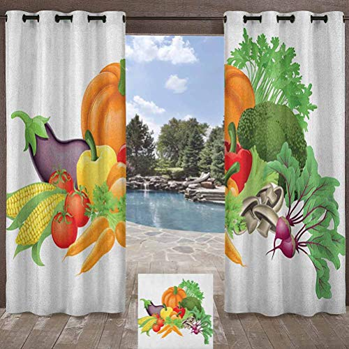 ParadiseDecor Harvest Porch Privacy Drapes Balcony, Deck Curtains Cartoon Drawing Style Fall Harvest Yield Fresh and Tasty Vegetables Bell Peppers Multicolor 104W x 63L Inch