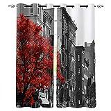FTCAKET Cortinas Impresas Calle Habitacion Cortinas Edificio Gran árbol con Aislamiento Térmico Cortinas Opacas con Ojales para Dormitorio De Niños 117x137 cm /46x54 Inch