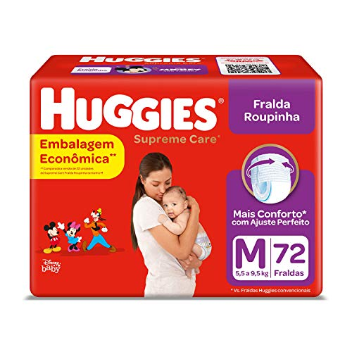 Huggies Fralda Supreme Care Roupinha Hiper M, 72 Fraldas, Huggies
