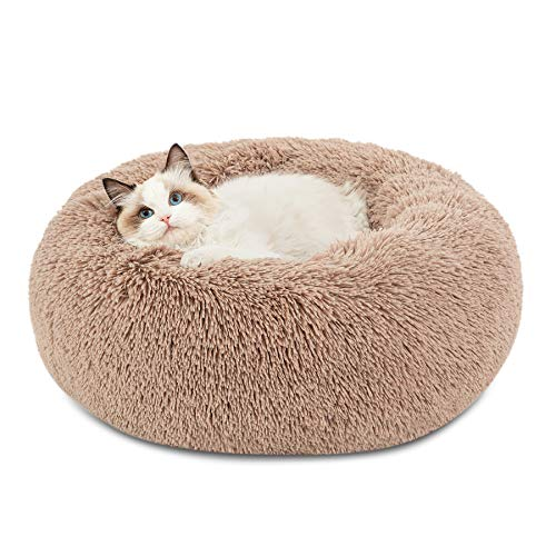 cat beds Bedsure Calming Cat Beds for Indoor Cats - Large Cat Bed Washable 20 inches, Anti Anxiety Round Fluffy Plush Faux Fur Pet Bed, Fits up to 15 lbs Pets, Camel